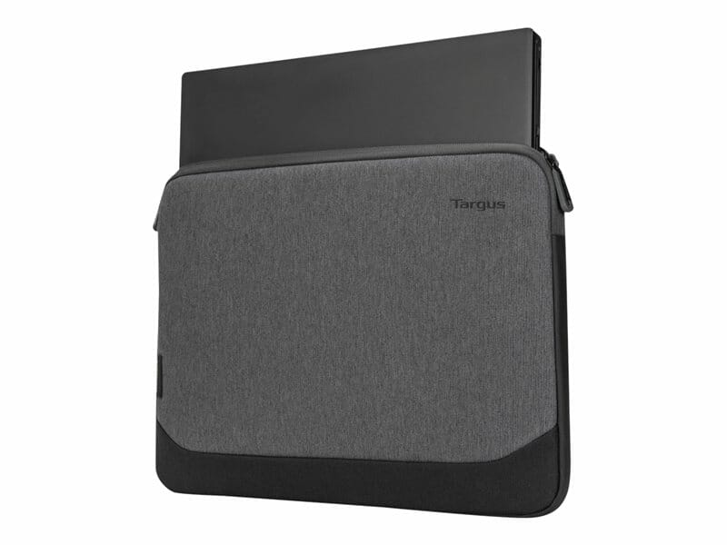Targus Cypress 13-14 inch milieuvriendelijke laptophoes - vooraanzicht hoes met laptop
